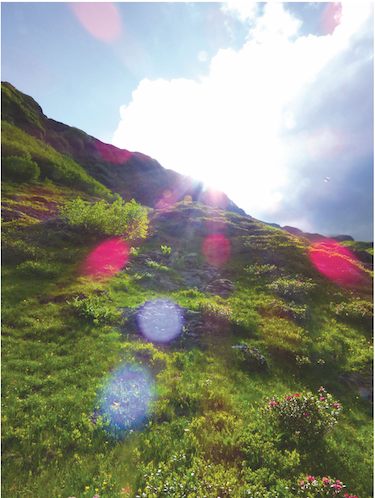 What is Color Therapy? Magenta Rainbow Ray in Grindelwald - copyright Terres Unsoeld