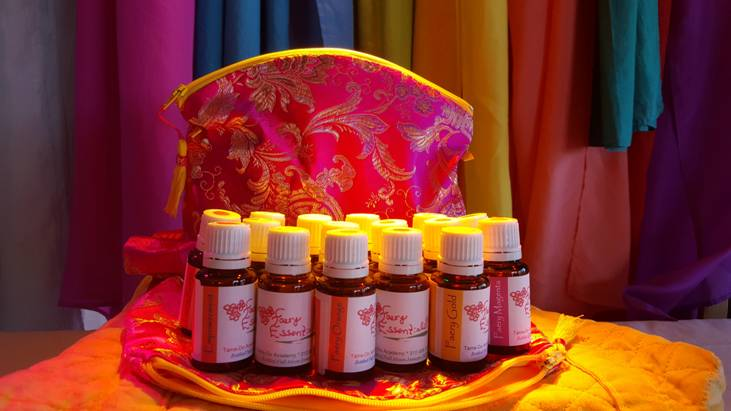 Terres Unsoeld's Organic Faery Essences® with specially made Magenta Brocade Faery Pouch