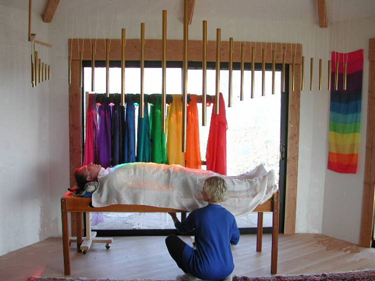 Fabien Maman's Chakra Tubes®, F and E Overtone Scale®, Rainbow Color Silks® and Monochorde Table® for Tama-Do Academy